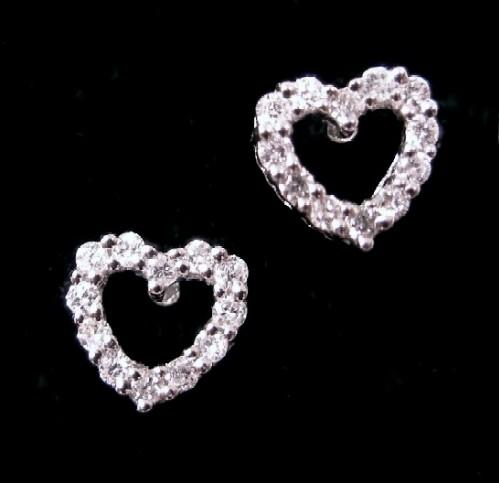 Open Heart Diamond Stud Earrings View Images