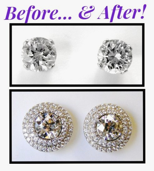Before & after double diamond halo studs