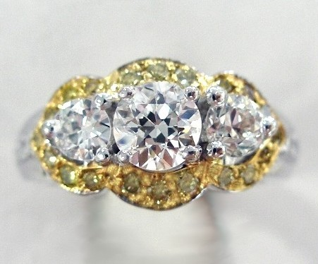 Ring with yellow diamonds after makeover