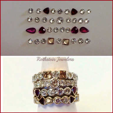 Stacking rings made from loose stones at Rothsteins