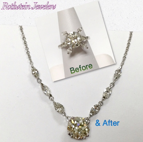 Transformed diamond ring into necklace at Rothsteins