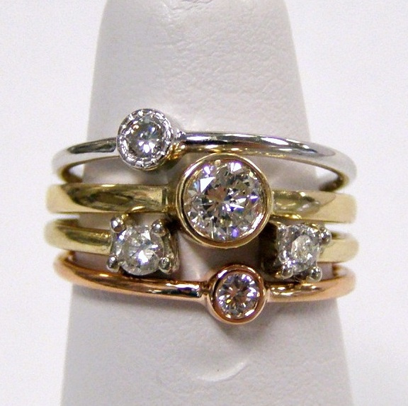 Diamond stacking rings custom designed at Rothsteins