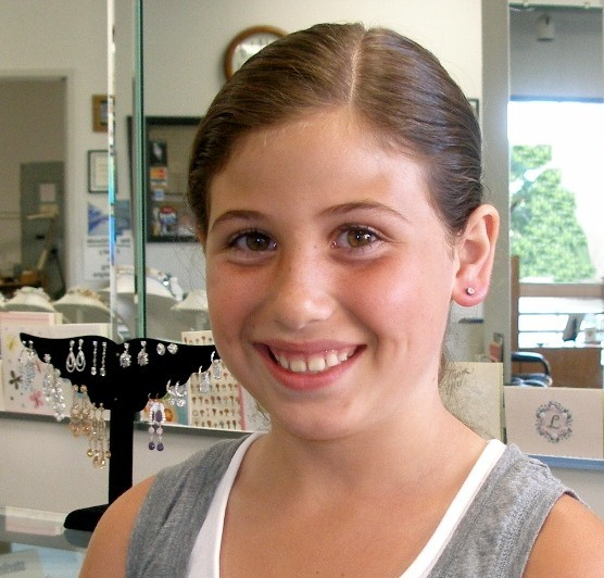 Kates ears pierced at Rothstein Jewelers in Beverly Hills